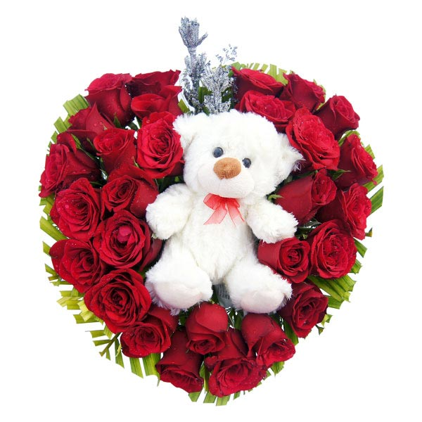 Classic Red Roses with Teddy