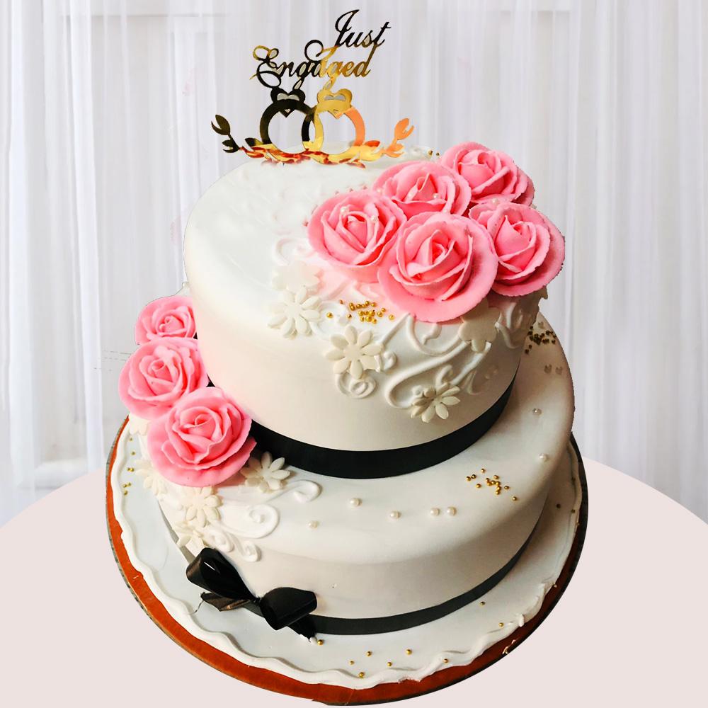 Send Exquisite Wedding Cake 4 Kg Gifts To Hyderabad
