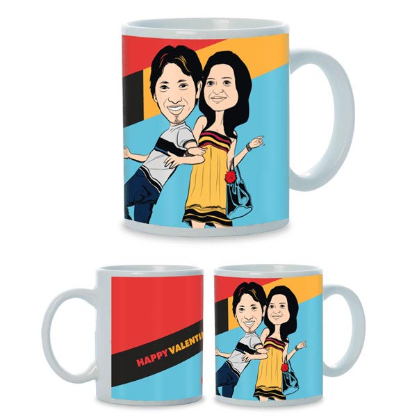 Hugs and Kisses Caricature Mug