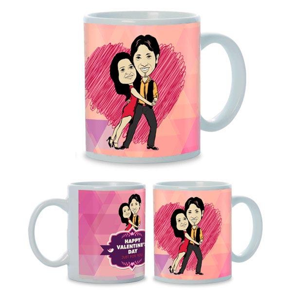 Lovable Couple Caricature Mug