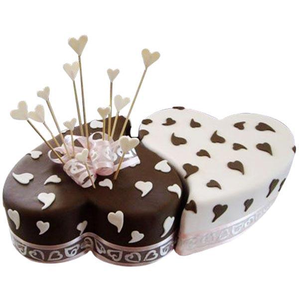 Twin Heart Choco Vanilla Cake - 2Kg