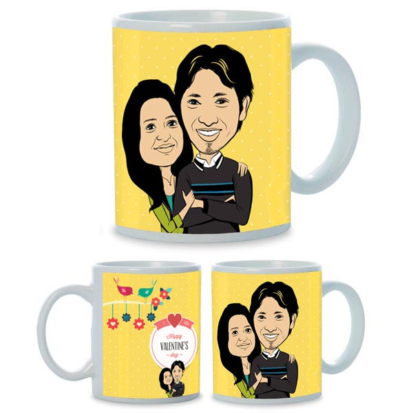 Valentines Day Caricature Mug