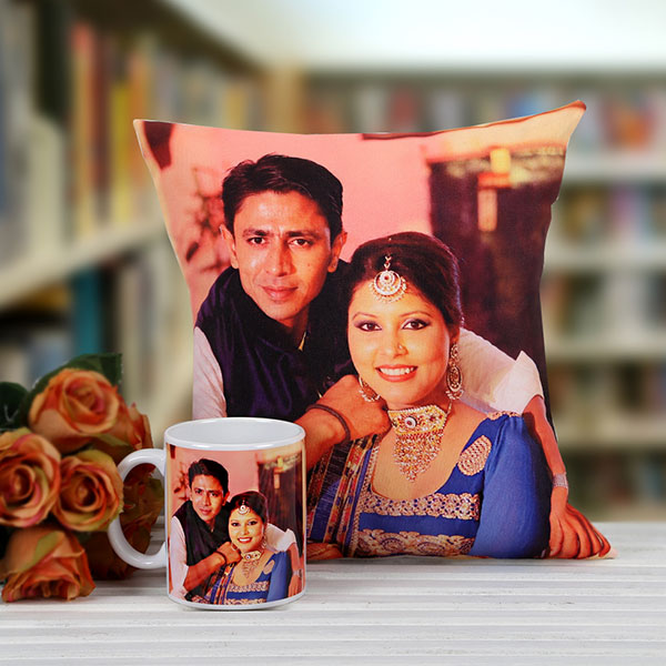 Gifts To Hyderabad Personalised Couple Cushion With Mug Combo